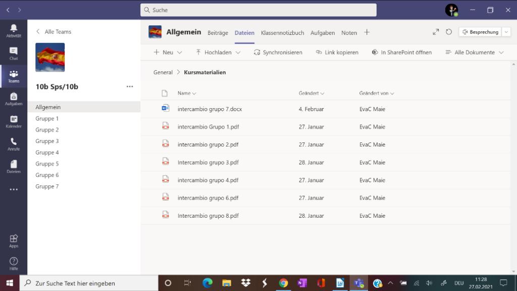 Beispiel für die erstellten Gruppenkanäle im Klassenteam sowie die Übersicht der gesammelten Ergebnisse